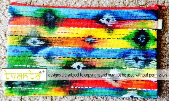 Hand painted Ikat Cotton Canvas Clutch Wristlet Simple by Tvanta