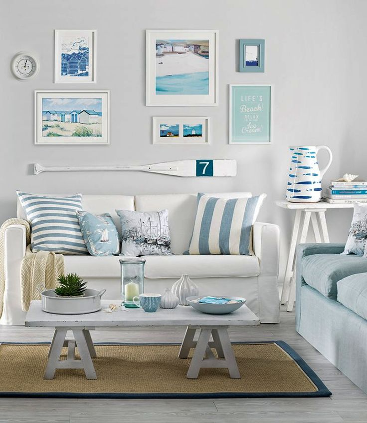 Small & Simple Beach Cottage Style Living Room Decor Ideas