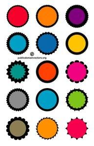 Set of 15 blank editable vector stickers in vector format.
