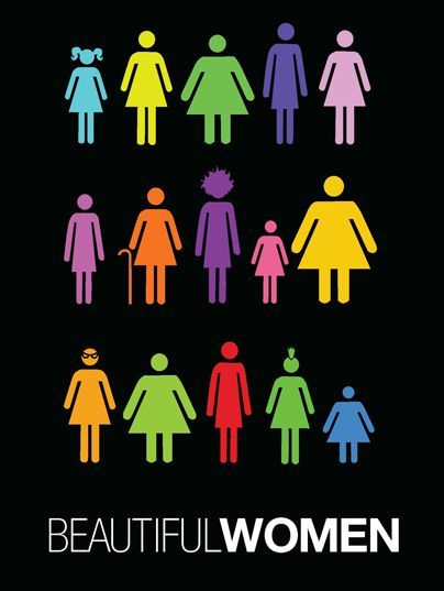 women of all shapes, sizes and colors… stand together. All beautiful in their own right.