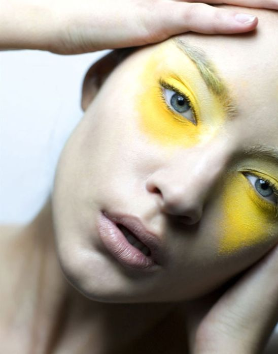 Yellow shadow. Make-up photos by Joanna McClure #yellow #makeup #beauty