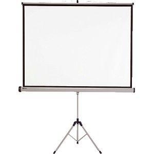 Pantalla de proyección NOBO con trípode de 1,75 x 1,31 cm. con acabado mate antirreflejos.  Marco de pantalla en negro para una mejor posición de la proyección.  Formato: 4:3, ideal para presentaciones con videoproyector