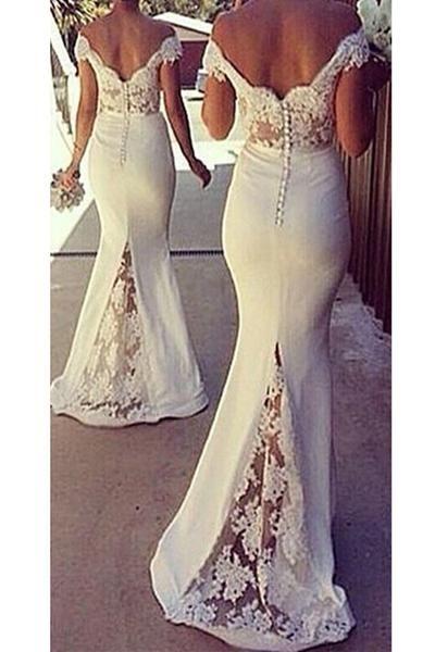 Newest Off the Shoulder Mermaid Bridesmaid Dresses E85
