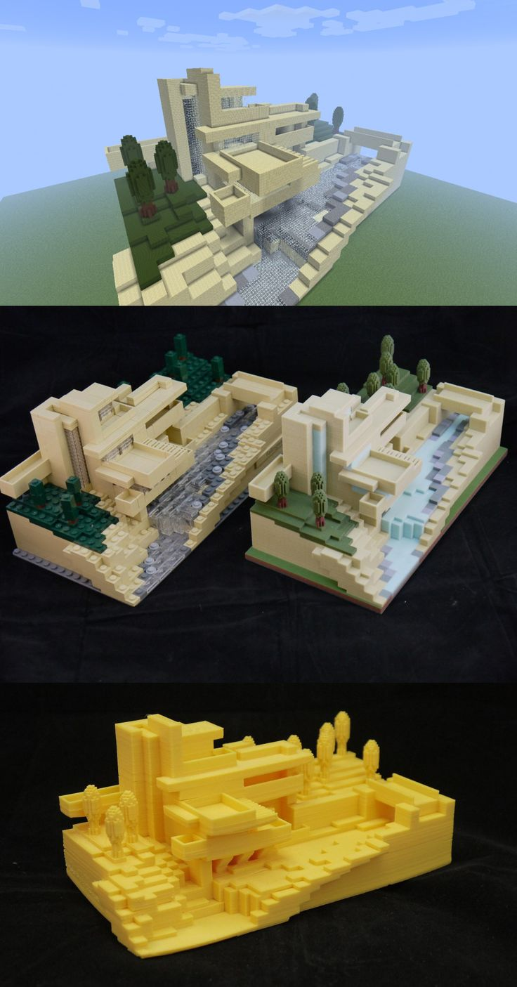 #3Dprinting of #Minecraft creation modeled after #LEGO modeled after real architecture.