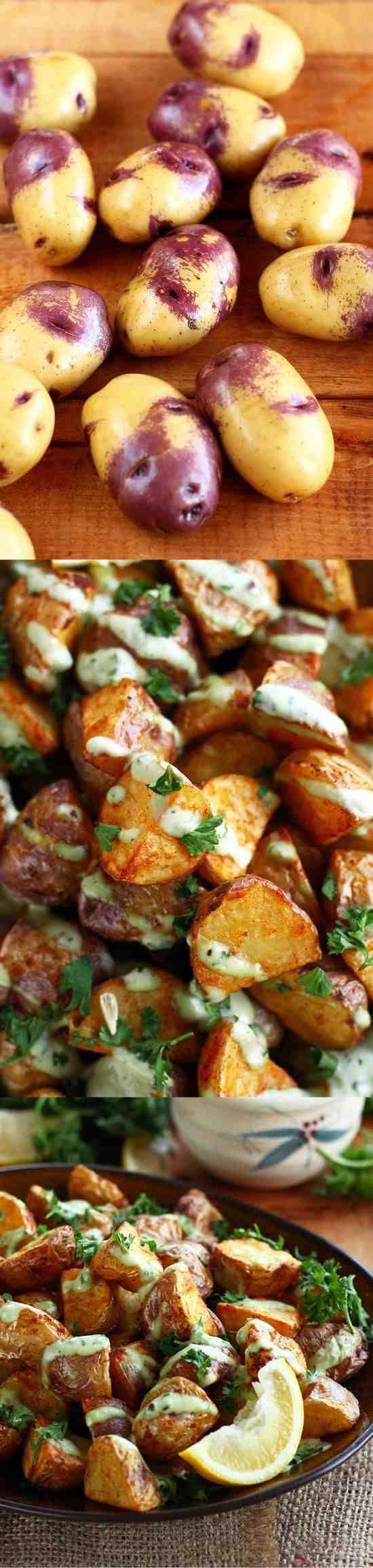 CRISPY POTATOES WITH GARLIC LEMON AVOCADO AIOLI - avocado, garlic, healthy, lemon, paprika, potato, recipes