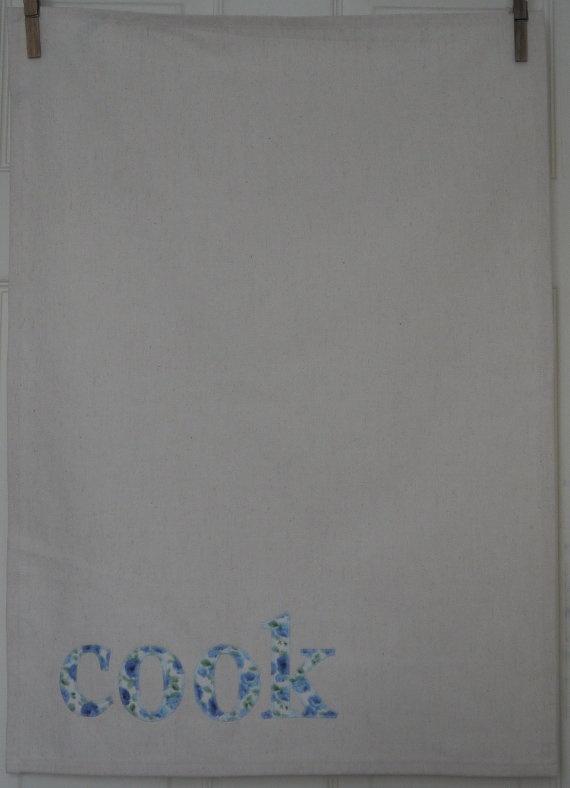 Handmade Tea Towel with Applique Vintage by HomebirdTextiles, £10.00