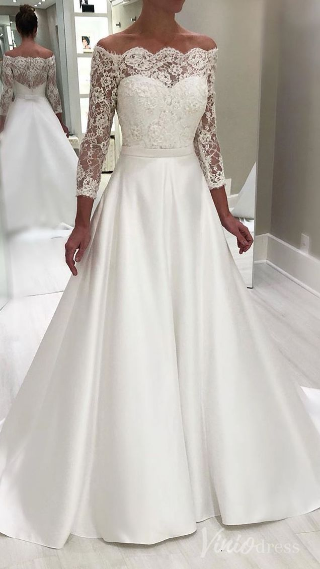 Off the shoulder long sleeve simple wedding dresses. #beachwedding #beachweddingdresses #bridaldresses #wedding #bohowedding #bohoweddingdresses #weddingdress #weddingdresses