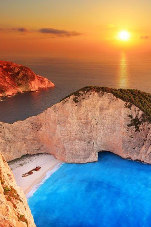 Sunset in Zante. When the sun is kissing the Ionian Sea before disappearing in the horizon, it is like a scene from heaven at the stunning Greek island Zakynthos.