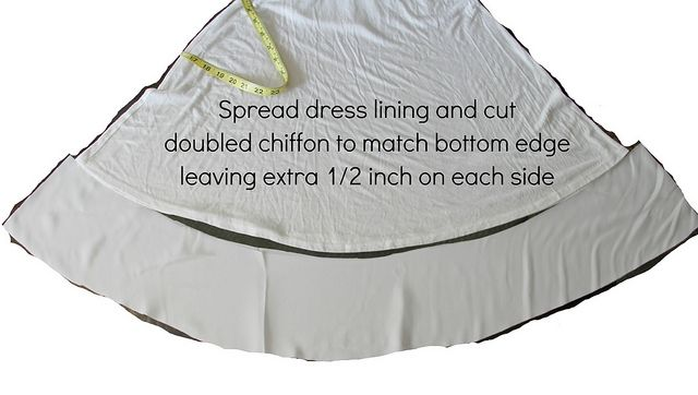 how to lengthen dress with chiffon underlining sewn to the original lining