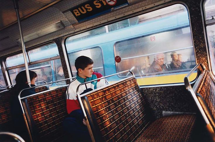 Lime St 1995 from Bus Odyssey by Tom Wood, public transport, street photography.