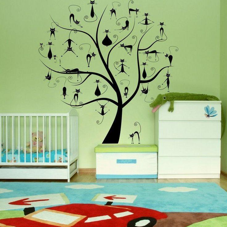 (3333n) Nálepka na stenu - Strom s mačiatkami | ARTSABLONY.SK