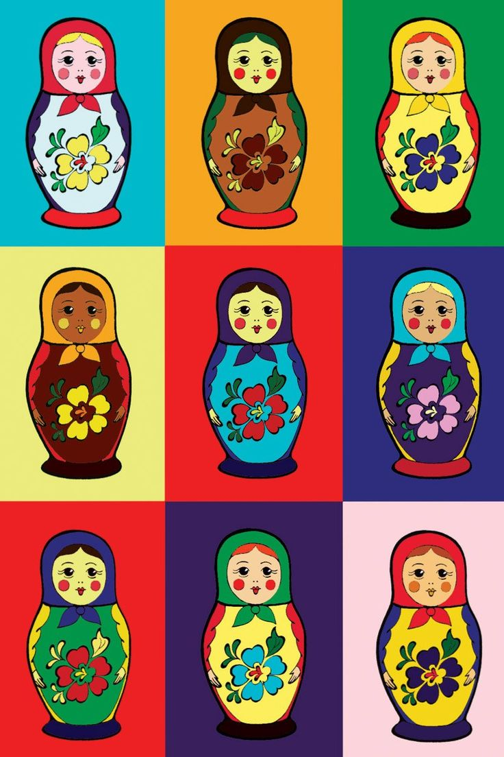 Pattern with Matryoshkas - Russian nesting dolls.