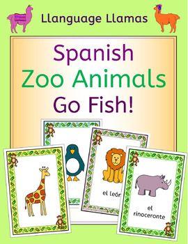 Spanish Zoo Animals - En El Zoo - Go Fish! Game Fun Go Fish! zoo animals game with cute graphics for practicing French zoo animals vocabulary – el león, el tigre, el oso, la cebra, el lobo, el elefante, el rinoceronte, el hipopótame, el canguro, la serpiente, el cocodrilo, el pingüino, la jirafa, el mono, el panda, el camello.