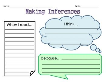 FREE Inference Graphic Organizer~  Students use this free printable to make an educated guess about what is happening in the text or picture.  Evidence + Schema = Inference!