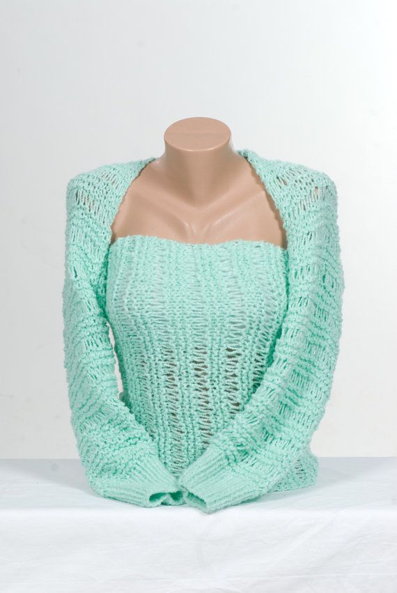 MINT Knitting Bolero. Long Sleeve. Wrap Bolero by ozlemdesign