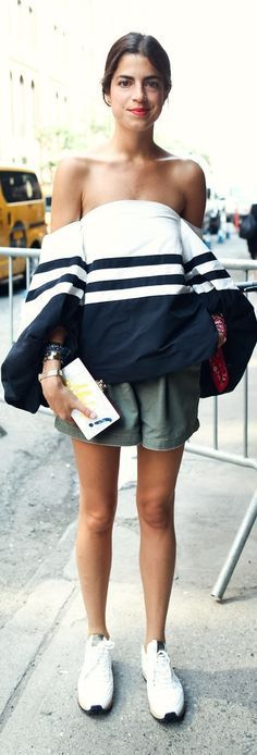 Style inspiration CFDA Award-winning Fashion designer Rosie Assouline: Leandra Medine dared to wear a should-baring high-volume top with simple sneakers and shorts during New York Fashion Week.