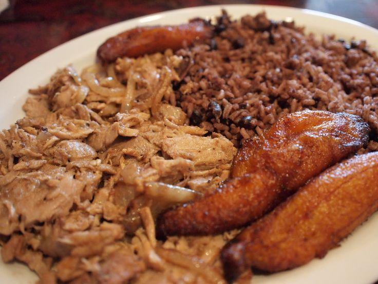 Traditional Cuban meal: Roast Pork, Congri, and Plaintains