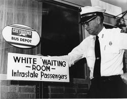 "May 13, 1963 – In United States of America and Interstate Commerce Commission v. the City of Jackson, Mississippi et al., the United States Court of Appeals Fifth Circuit rules the city's attempt to circumvent laws desegregating interstate transportation facilities by posting sidewalk signs outside Greyhound, Trailways and Illinois Central terminals reading ""Waiting Room for White Only — By Order Police Department"" and ""Waiting Room for Colored Only – By Order Police Department"" to be…"
