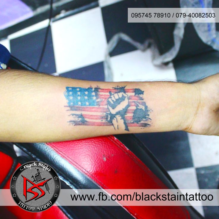 The flag of usa which represents the country     done by DHARMESH MAGRA                      of BLACK STAIN TATTOO STUDIO
