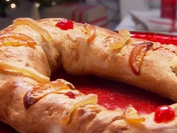 Get this all-star, easy-to-follow Food Network Three Kings Bread: Rosca de Reyes recipe from Ingrid Hoffmann.
