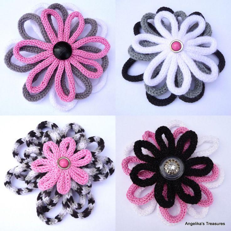 French Knitting Flowers : Brei deken met punnik bloemen archieven
