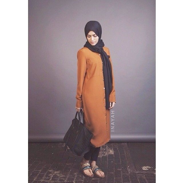 Tan Shirt Dress + Black Crossover Trousers Black Modal Hijab  |  INAYAH www.inayahcollection.com  #inayah