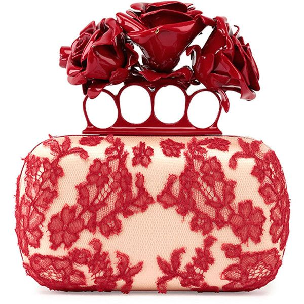 Alexander McQueen Roses Lace Knuckle Duster Box Clutch Bag (23,925 CNY) ❤ liked on Polyvore featuring bags, handbags, clutches, lace handbag, accessories handbags, red box clutch, red clutches and purse