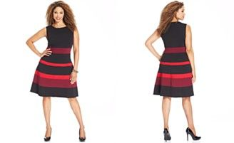 NY Collection Plus Size Sleeveless Ponte-Knit Colorblocked A-Line Dress