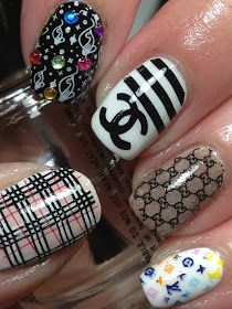 Canadian Nail Fanatic: Digital Dozen; Fashion, Day 5. Chanel, Louis Vuitton, Burberry, Gucci...  Handy plates,  stamping nail art