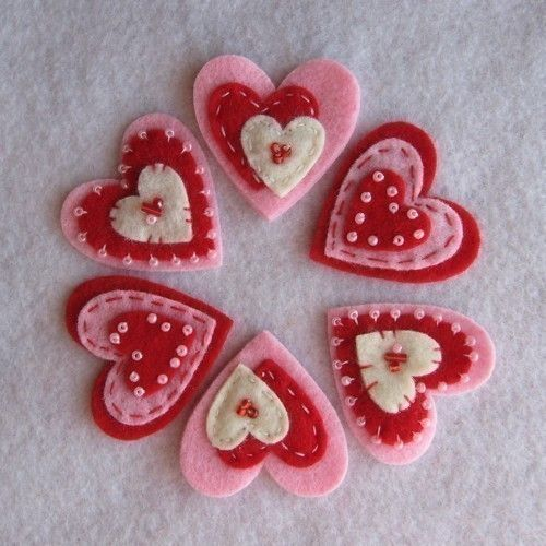 Red Cream Pink Valentine Hearts. $5.50, via Etsy.