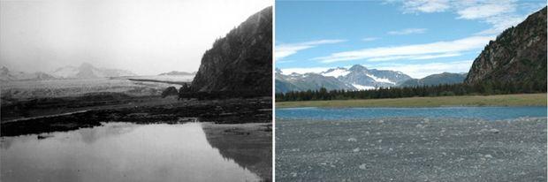 Aljaška v júli 1909 vs. v auguste 2005. (Foto: NASA)