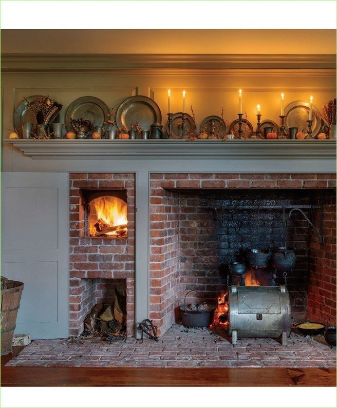 Kitchen Hearth: 42 Attractive Farmhouse Kitchen With Fireplace