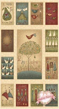 """12 Days of Christmas 7890P-44 Panel By Anni Downs For Henry Glass: 12 Days of Christmas is a holiday collection by Anni Downs of Hatched Patched for Henry Glass Co. 100% cotton. This panel measures approximately 23-1/2"""" X 44"""". This panel features images measuring approximately 5"""" X 9"""" representing the twelve days of Christmas surrounding a center image measuring approximately 10-1/4"""" X 18-1/2""""."""