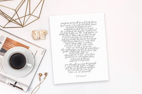 imagine yourself as a living house / cs lewis / calligraphy