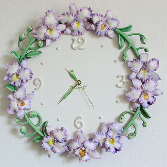 Wall clock lilac orchids Cattleya Wall decor flowers Polymer clay clock Unique wall clock Floral clock Flower clock Wedding gift Lilac orchids flowers Gift Unique wall clock with orchids Cattleya of lilac colors********** Base for clock made from wood, orchids made from polymer clay