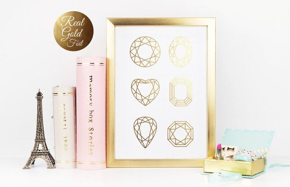 Gold Gem Print Gold Geometric Gold Gem Wall Art by LovelyPosters