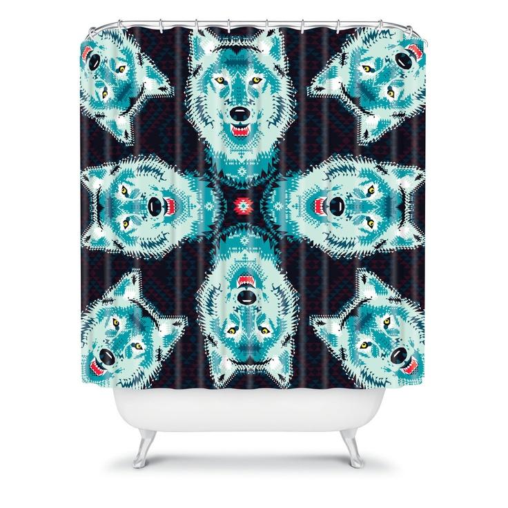 Chobopop Geometric Wolf Shower Curtain
