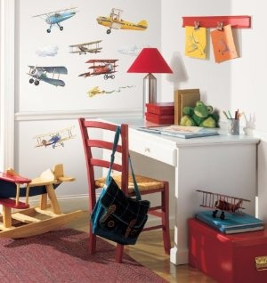 RoomMates Repositionable Childrens Wall Stickers, Vintage Planes:Amazon:Kitchen & Home