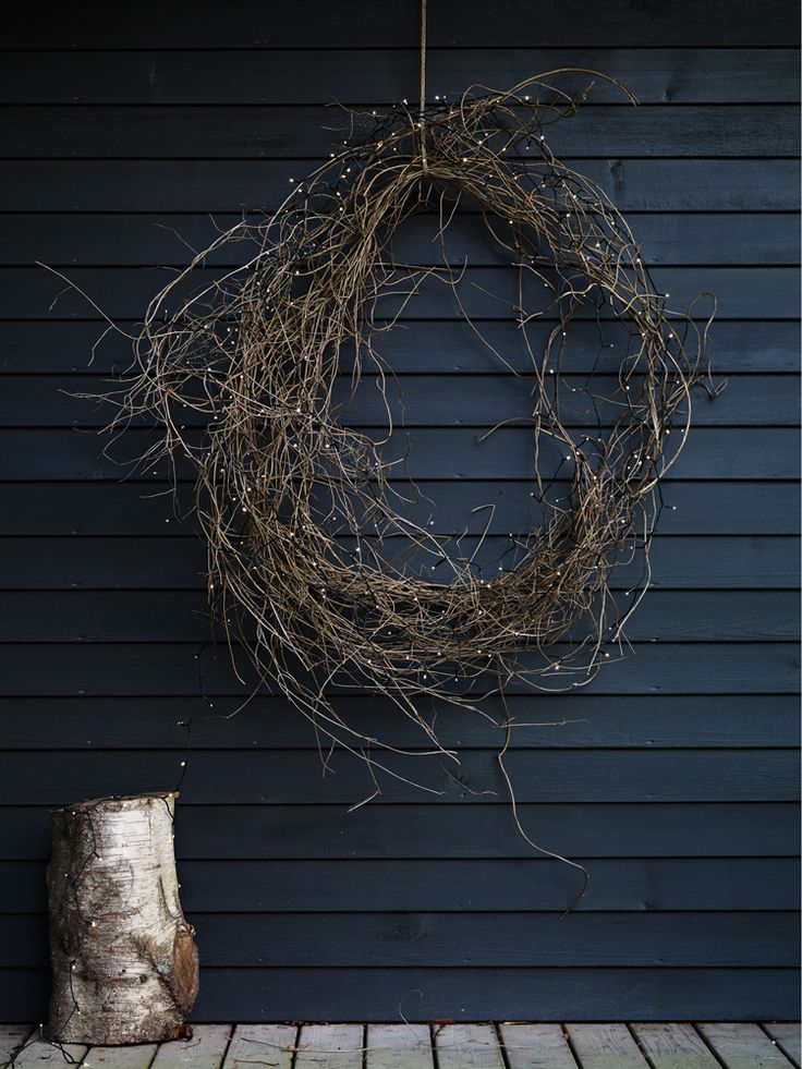 250 Warm White LED Pea Lights from Cox & Cox. Liking this hand made wreath created from foraged branches.