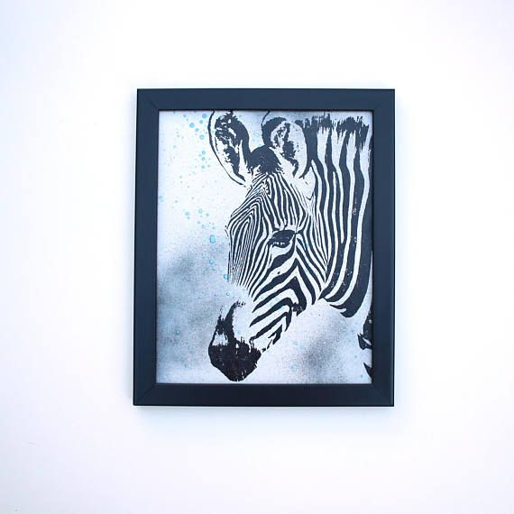 Zebra Wall Art, Wildlife Wall Art, Screen Printed Art, Wood Art, Home Decor, Housewarming Gift, Gifts under 25, Affordable Art