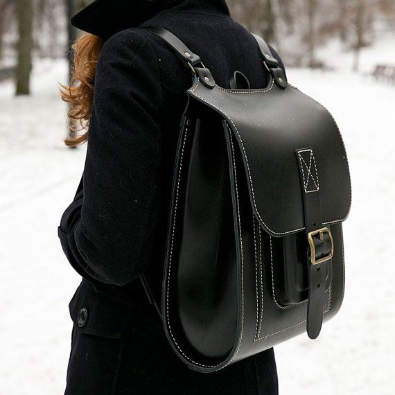 Black leather backpack large 15 inch laptop bag por InBagWeTrust