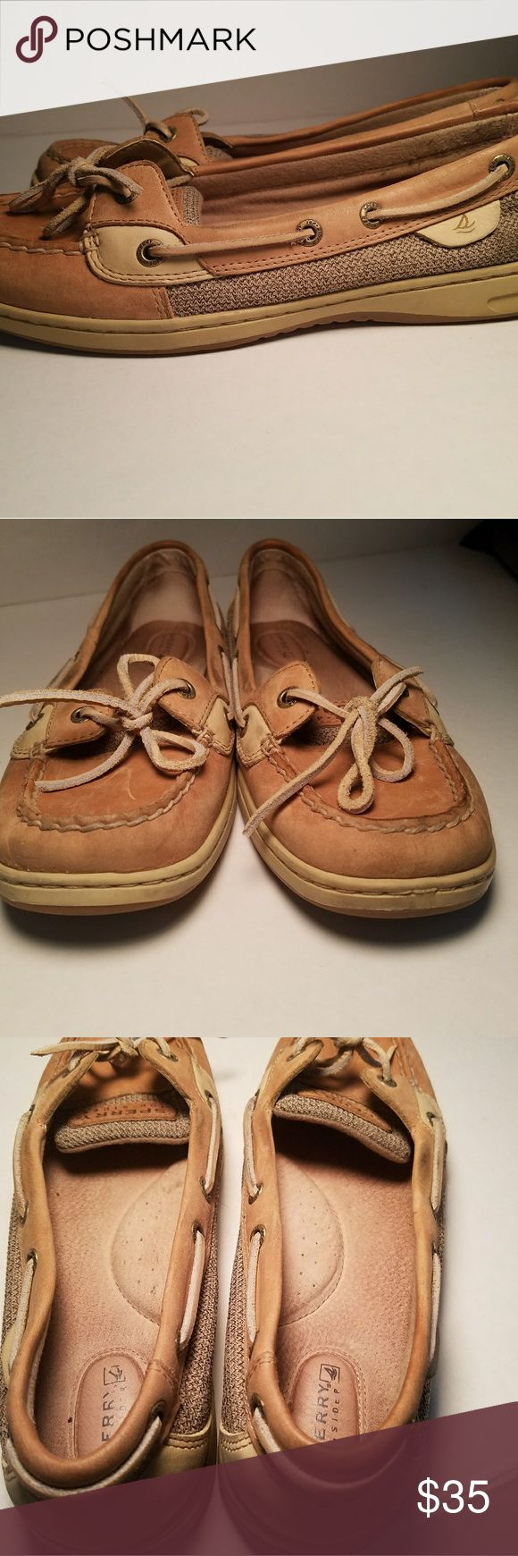 Sperry Angelfish sz Womens 10M Color tan Angelfish Boat shoes. Very little wear on the sole. Small scratch on the tounge, no stains or flaws on them. Sperry Shoes Flats & Loafers