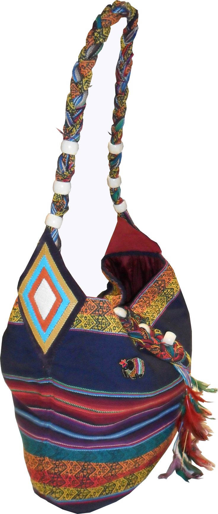 N.AFRICA, Shoulder bag from handmade cotton jacquard decorated with leather detail and feathers.