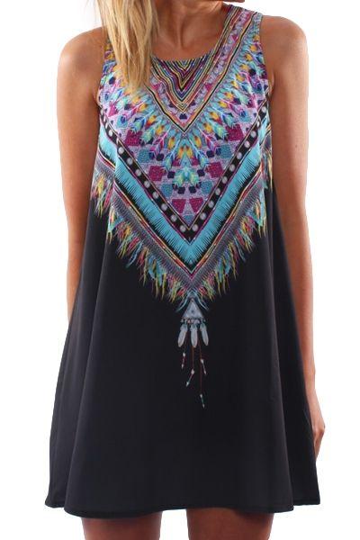 Jewel Neck Print Spliced Sundress