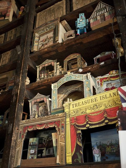 Toy theatres at Pollock's Toy Museum. P&P: the traditional toy theatres may need to be brought back. The Crow Press can help with this, I am sure.