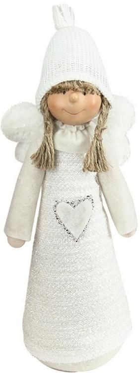 """14.5"""""""" White Snowy Woodlands Girl Angel Christmas Tabletop Figure"""