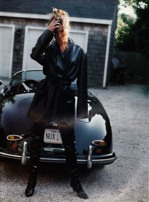 Carre Otis by Pamela Hanson for Vogue Italia November 1991 - Costume National leather short trench, Lerre patent leather boots
