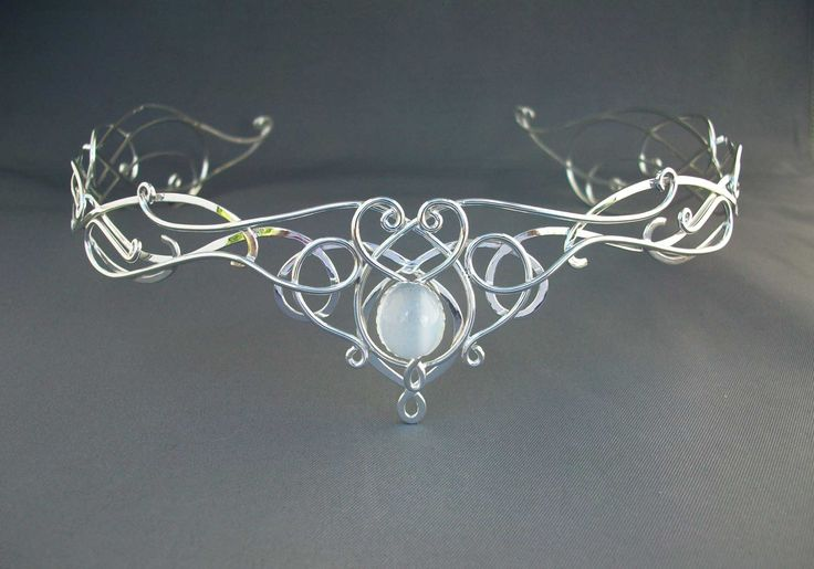 SilverMoon Circlet Headpiece Wedding Bridal Celtic Elven Medieval Fairytale Renaissance Headdress Tiara