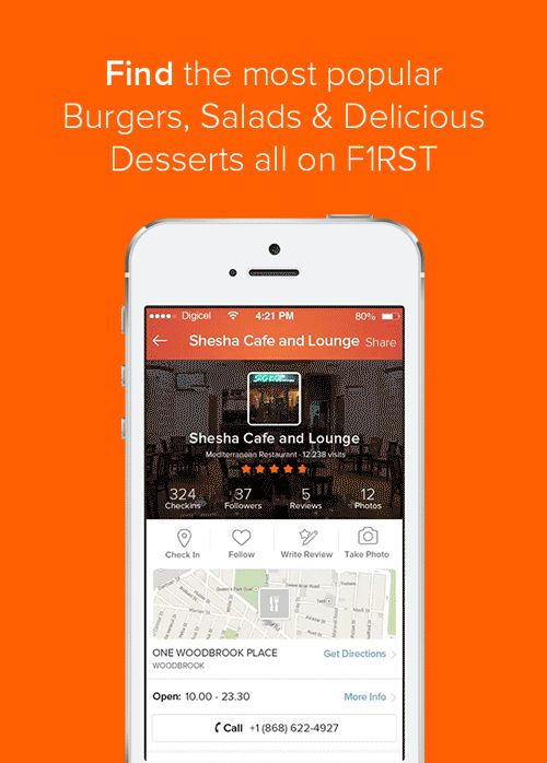 Find the most popular Burgers, Salads & Delicious Desserts all on F1RST