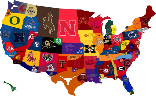 "College Football Map - Though I think there should be an asterisk here that says ""not to scale.""  Look how little of Oregon is taken up by the Beavers and how little of CA by USC.  Those are not representative."